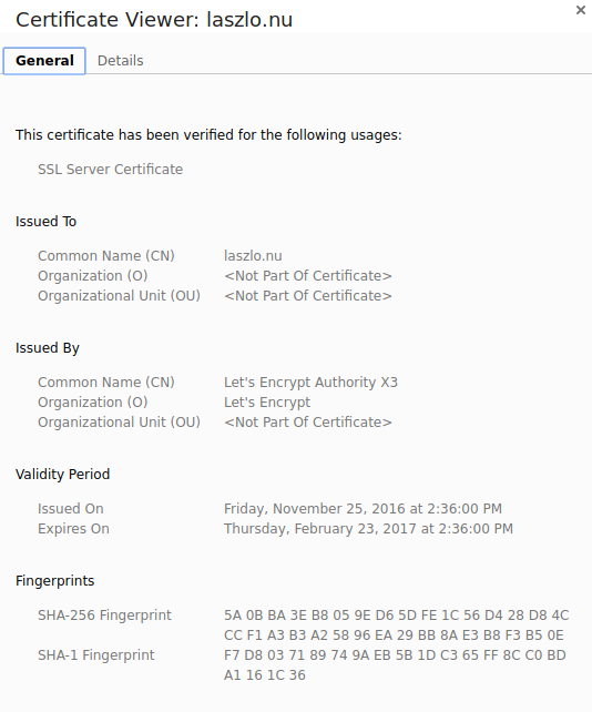 The certificate details of this site. Issued by Let's Encrypt.